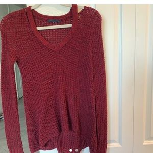 Maroon knotted sweater from American Eagle